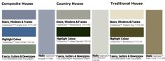 Colour centre pale eucalypt colour palette House Exterior Color Schemes, Exterior Colors, Colour Schemes, Color Combos, Colour Palettes, External Render, Rendered Houses, House Doors