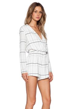 The Fifth Label Party Talk Playsuit in White Tartan Print