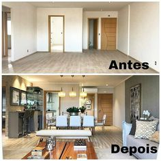 That Before and After we love, amazing transformation of this apartment. Apartment Interior, Interior Design Living Room, Living Room Designs, Home Staging, Small Apartments, Home Renovation, Decor Interior Design, Home And Living, New Homes