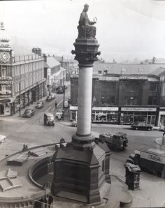 Anyone know what happened to this Crimea Monument that stood at Moorhead in Sheffield City Centre? Also - what is the restaurant in the photo that stands behind it? Sheffield City, Crimean War, British History, Public Art, Great Britain, Cn Tower, The Locals, Statue Of Liberty, Old Things