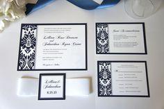Elegant Navy Blue Wedding Invitation - Elegant Wedding Invitation, Belly Band, Damask, Blue Wedding, Invitation Set - SAMPLE SET
