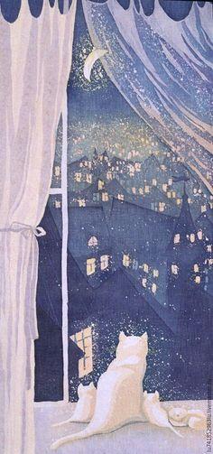 """Город ручной работы. Ярмарка Мастеров - ручная работа. Купить Панно """"В окне"""". Handmade. Город, животные, луна, окно"""
