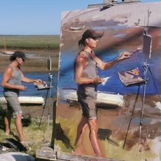 """Rob Pointon ROI on Instagram: """"Great to chat and paint Artist Robin Perko aka @paintslosher this morning at Burnham Overy Staithe, I'm enjoying the outdoor portraiture at…"""" Burnham, Painters, Robin, Artist, Outdoor, Instagram, Outdoors, Artists, Outdoor Games"""