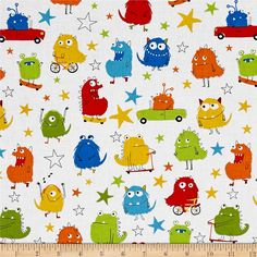 Kaufman Monsters Collage Primary from @fabricdotcom  Designed by Sea Urchin Studio for Robert Kaufman Fabrics, this whimsical collection is perfect for a monster-loving little boy's nursery, with primary color palettes, silly monsters, and hand-drawn stars. Perfect for quilting, apparel, and home decor accents. Colors include white, red, orange, yellow, green, blue, and black.