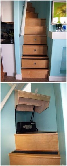 Lighting Basement Washroom Stairs: Lift Up Basement Stairs For Extra Storage. Pretty Cool