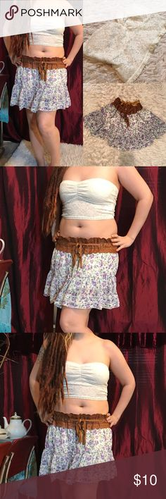 Tube top and skirt Sold together! White lacey tube top with circle flowy skirt. Skirt has fake belt detail. Forever 21, Wet Seal, Rat Baby, Alternative Fashion, Gypsy Warrior, Hot Topic, Maurice's, Nasty Gal Check out my other listings and bundle to save! 💀👻🖤 🖤💕 Offers welcome 💕🖤 Forever 21 Skirts Circle & Skater