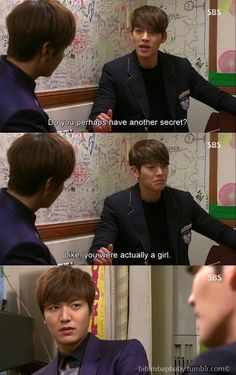 Kim tan (lee min ho) and young do (kim wo bin) in the heirs The Heirs Kdrama, Heirs Korean Drama, Korean Drama Funny, Korean Drama Quotes, Kdrama Actors, Drama Korea, Korean Dramas, K Drama, Drama Fever