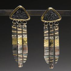 Want to try this with polymer clay. Earrings | Leigh Griffin.  From her Totem Series