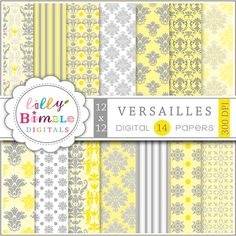 80% off Yellow Gray Digital papers for scrapbooking by LillyBimble