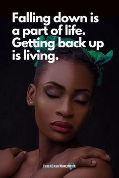 Falling down is a part of life. Getting back up is living. #keepgoing #lifejourney #motivationeveryday #winners #richlife #newweeknewstart #inwardjourney #successmindset #beautifulworld #power #successhabits #wisequote #positivethinking #liveyourlifebefree #millionairequotes #hustlequotes Wise Quotes, Success Quotes, Hustle Quotes, Get Back Up, Millionaire Quotes, Rich Life, New Start, Success Mindset, Live Your Life