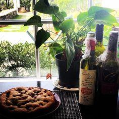 raspberry buttermilk cake, saran-wrapped wine