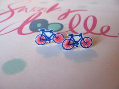 blue and pink novelty bike stud earrings
