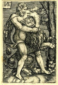 Hercules killing the Nemean lion.  Engraving