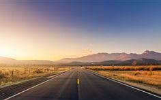 Road, Gebirge, Gras, Sonnenuntergang