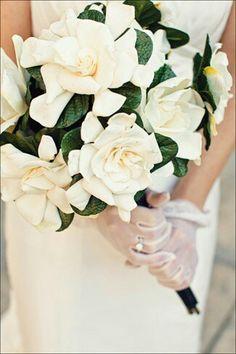 Bridal Bouquet Of White Gardenias & Dark Emerald Foliage~~~~