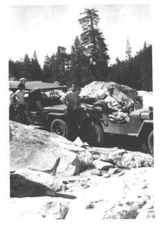 Willys Jeeps Cross Rubicon Trail In Old Jeep, Jeep Tj, Jeep Dodge, Rubicon Trail, Jeep Trails, Mark Smith, Jeep Willys, Black Labs, Shirtless Men