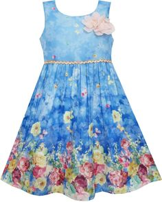 Girls Dress Sky Butterfly Blooming Rose Flower Garden Print Blue Size 4-12 Years