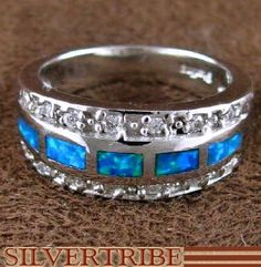 Sterling Silver And Blue Opal Inlay Ring Size 7-3/4 Jewelry AS51598