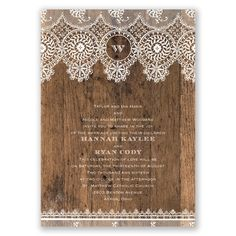 The best of #rustic and refined is combined in this barnwood and #lace #wedding #invitation. Delicate lace borders a wood grain background, featuring your wording printed in white only. Your married initial is highlighted at the top. Invitations by David's Bridal Style Barnwood & Lace.
