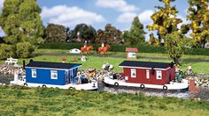 Small Houseboats | Faller HO Town and Village ... Euro Model Trains