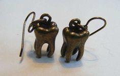 Brass teeth earrings