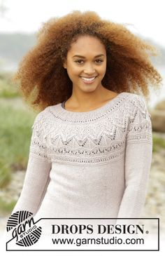"""Knitted DROPS jumper with round yoke and textured pattern on yoke in """"BabyAlpaca Silk"""". Size: S - XXXL. Sweater Knitting Patterns, Lace Knitting, Knit Patterns, Knit Crochet, Finger Knitting, Knit Cowl, Crochet Granny, Hand Crochet, Drops Design"""