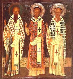 Synaxis of the Ecumenical Teachers and Hierarchs: Basil the Great, Gregory the Theologian, and John Chrysostom - Orthodox Church in America Weird Songs, Saint Gregory, John Chrysostom, St Basil's, Greek Gods And Goddesses, Johannes, Biblical Art, Byzantine Art, Religious Icons