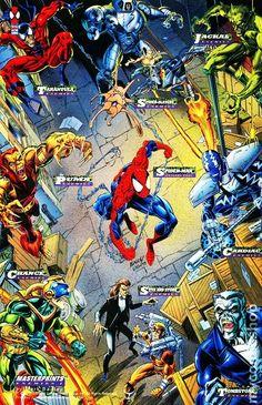 Spider-man enemies - 1994 Marvel Cards Masterprints (Fleer Corp) by Mark Bagley Comics Spiderman, Marvel Comics Superheroes, Marvel Vs, Marvel Heroes, Comic Book Characters, Marvel Characters, Comic Books Art, Marvel Cards, Mark Bagley
