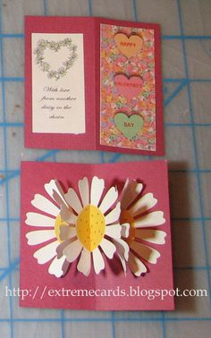 Tiny three flower pop up card.  Daisy pop up with conversation hearts for Valentine's Day.