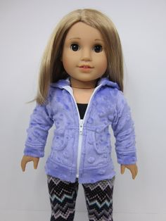 American Girl doll clothes -Pretty purple bubble fleece hoodie by JazzyDollDuds on Etsy.