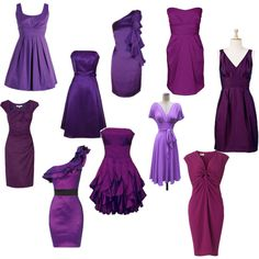 Mismatched purple bridesmaid dresses-I always wanted the same dress for the bmaid but I likeeee Rainbow Bridesmaid Dresses, Bridesmaid Flowers, Wedding Bridesmaids, Wedding Dresses, Bridesmaid Ideas, Peacock Wedding, Purple Wedding, Dream Wedding, Always A Bridesmaid