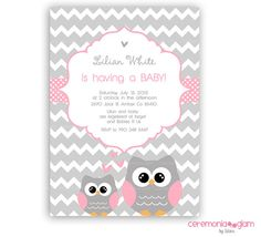 Printable baby shower invitation baby girl owl pink and grey chevron on Etsy, $13.50