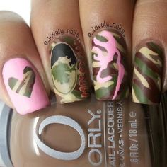 Very cute camo nails.i so need to get my nail done like this Very cute camo nails. Get Nails, Love Nails, How To Do Nails, Pretty Nails, Hair And Nails, Camo Nail Art, Camo Nails, Camouflage Nails, Pink Nails