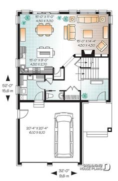 New House Plans 4 Bedroom Narrow Lot Garage Ideas 4 Bedroom House Plans, Garage House Plans, New House Plans, House Floor Plans, House Plan With Loft, Narrow Lot House Plans, Plan Chalet, Garage Double, Drummond House Plans