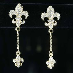 NEW!  FLEUR DE LIS  RHINESTONE EARRINGS WOULD  MAKE A GREAT GIFT OR LOOK GREAT WITH THAT SPECIAL DRESS. REALLY CUTE!!
