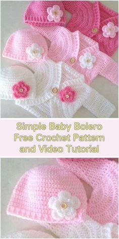 Simple Baby Bolero Cardigan - Free Pattern and Video Tutorial
