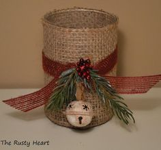 Small Burlap Candle Holder by TheRustyHeart on Etsy