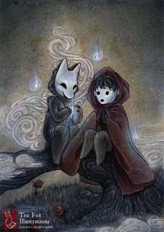 Mist Children - Mixed Media Illustrations by Sarah Graybill Art And Illustration, Fuchs Illustration, Illustrations, Japanese Mythology, Japanese Folklore, Japanese Culture, Japanese Art, Traditional Japanese, Fantasy Kunst