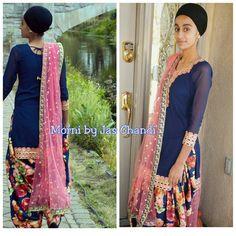 I am in love this suit! Especially the dupatta! My client graces it even better! #morni #jaschandi #desibrides #desibridediaries #indianbride #indianwedding #punjabiwedding #punjabiswag #punjabifashion #fashionista #pakistanifashion #instafashion #punjabi #punjabisuit #punjabiat #royalblue #navyblue #peach #singhni #sikhfashion