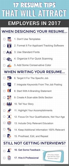 17 Resume Tips That Will Attract Employers In Infographic Off The Clock Resumes Resume Help, Job Resume, Resume Tips, Cv Tips, Resume Fonts, Resume Work, Resume Ideas, Resume Skills, Resume 2017