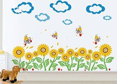 Pop Decors PT0104Va Beautiful Wall Decal Sunflowers and Bees -- You can get more details by clicking on the image.-It is an affiliate link to Amazon. #NurseryDecor