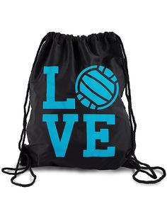 I Love Volleyball Sackpack Drawstring Back Pack *** Awesome product. Click the image : Christmas Luggage and Travel Gear