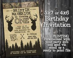 The Little Hunter Collection - Customized Birthday Invitation Printable - Camo, Hunting, Camp Out Themed Party Invitation - Deer Elk Arrows by 2LittleWildflowers on Etsy https://www.etsy.com/listing/252385592/the-little-hunter-collection-customized