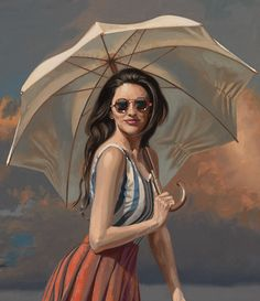 🌺🌻✿❀❁ For more great pins go to Umbrella Art, Under My Umbrella, Graphic Design Illustration, Illustration Art, Art Deco Paintings, Modern Paintings, Florence Academy Of Art, Moon Silhouette, Gossip Girl
