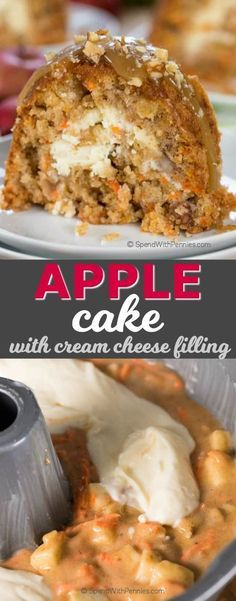 This Easy Apple Cake is incredibly moist and delicious with a surprise cream cheese center. Sweet tender apples, cinnamon and carrots meld together with the delightful cream cheese layer to create a luscious cake worthy of your next special occasion or an amazing dessert.