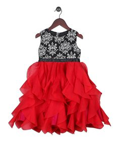 Look at this Joe-Ella Red & Black Damask Waterfall-Skirt Dress - Toddler & Girls on #zulily today!