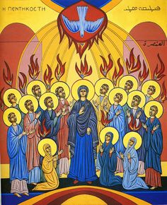 Pentecost is the birthday of the Catholic Church. Pentecost is when the Holy Spirit came upon the apostles fifty days after the Resurrection of Christ. Religious Icons, Religious Art, Ste Bernadette, Holy Spirit Come, Day Of Pentecost, Saint Esprit, Religious Paintings, Last Supper, Holy Ghost