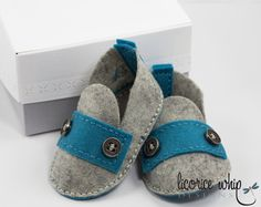 CASEY— 100% Wool Felt Hand Stitched Heather Grey and Blue Strap Booties with Custom Box makes great baby gift