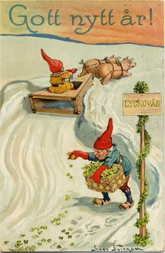 "Antique postcard by Jenny Nyström,artist.""Happy New Year "" Xmas Elf, Christmas Gnome, Christmas Art, Vintage Greeting Cards, Vintage Christmas Cards, Christmas Images, Swedish Christmas, Scandinavian Christmas, Troll"