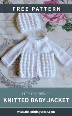 Little Surprise Knitted Baby Jacket [FREE Knitting Pattern] - Create this simply lovely knitted baby cardigan ideal as a thoughtful handmade baby shower present. Baby Knitting Patterns Free Newborn, Baby Cardigan Knitting Pattern Free, Kids Knitting Patterns, Baby Sweater Patterns, Knitted Baby Cardigan, Knit Baby Sweaters, Baby Hats Knitting, Free Knitting, Crochet Hats